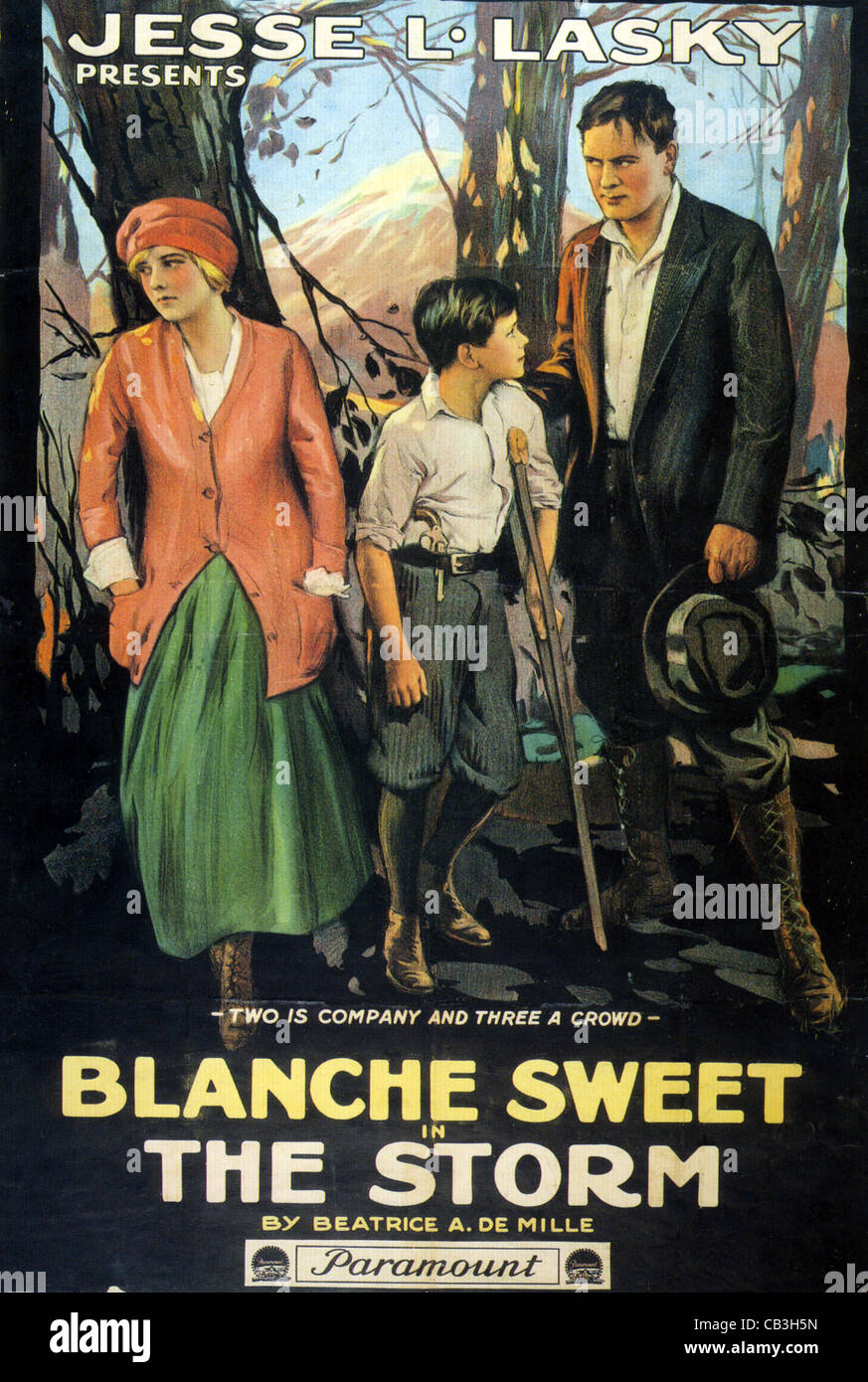 THE STORM Poster for 1916 Paramount silent film with Blanche Sweet - Stock Image