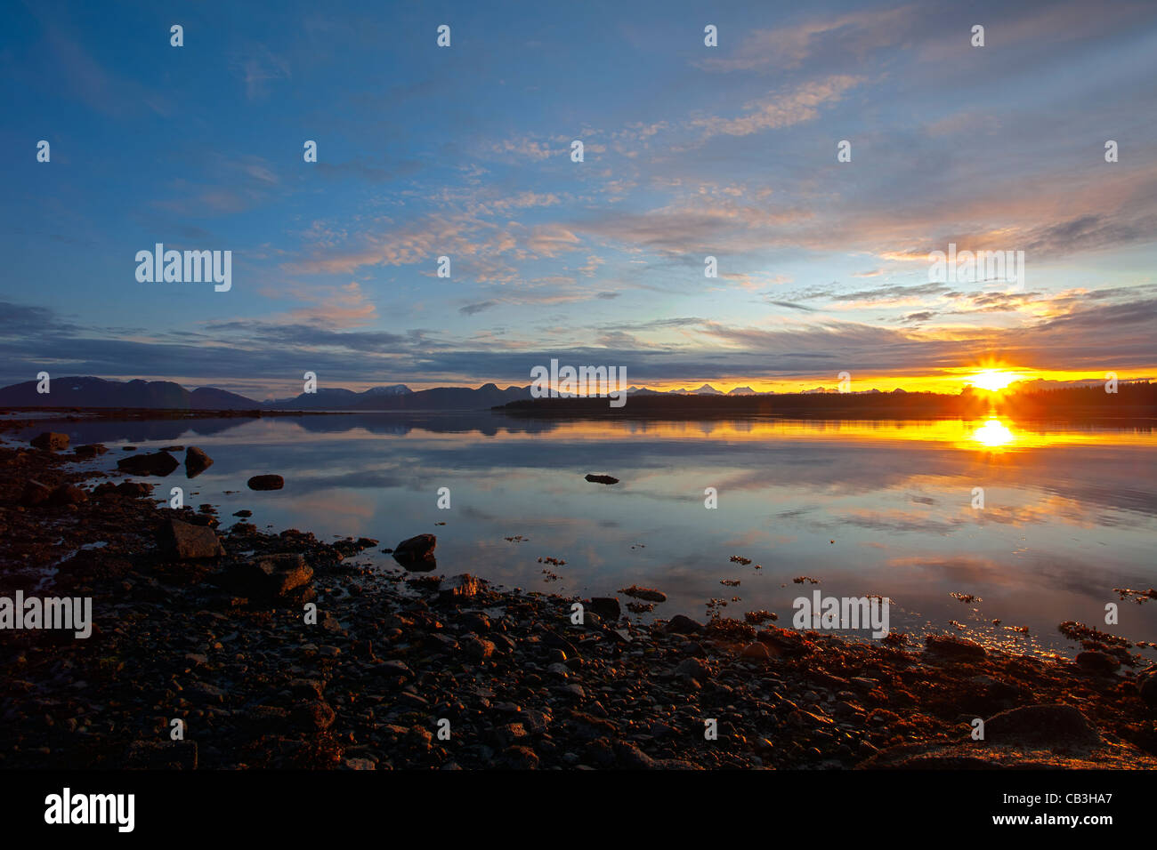 Sunset. Bartlett Cove. Glacier Bay. Alaska. USA - Stock Image