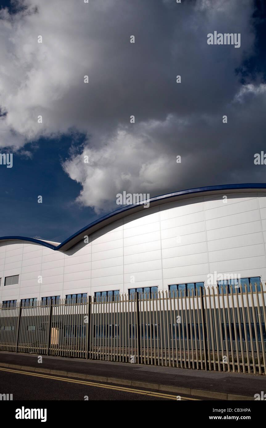 Steel fabricators workshop buildings at Shoreham Port, West Sussex, UK Stock Photo