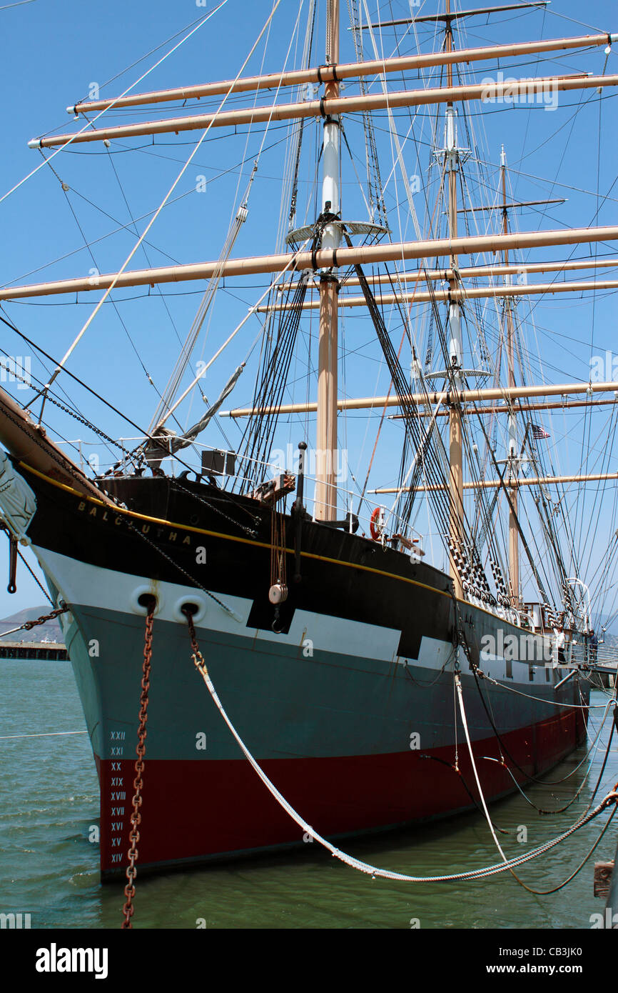 Balclutha, also known as Star of Alaska, Pacific Queen, or Sailing Ship Balclutha. Steel-hulled full rigged sailing - Stock Image