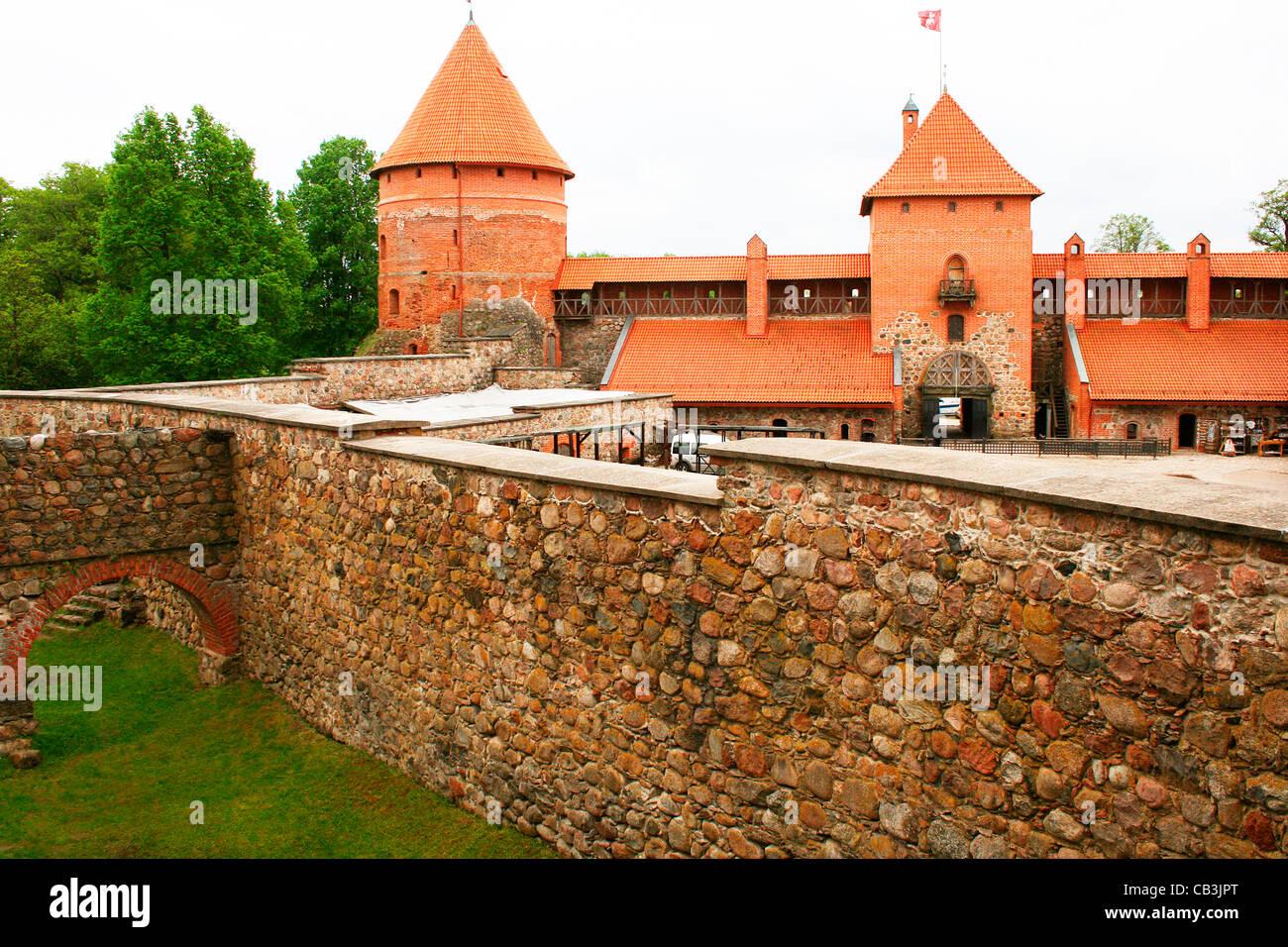 lithuania trakai trakai castle interior walls and moat