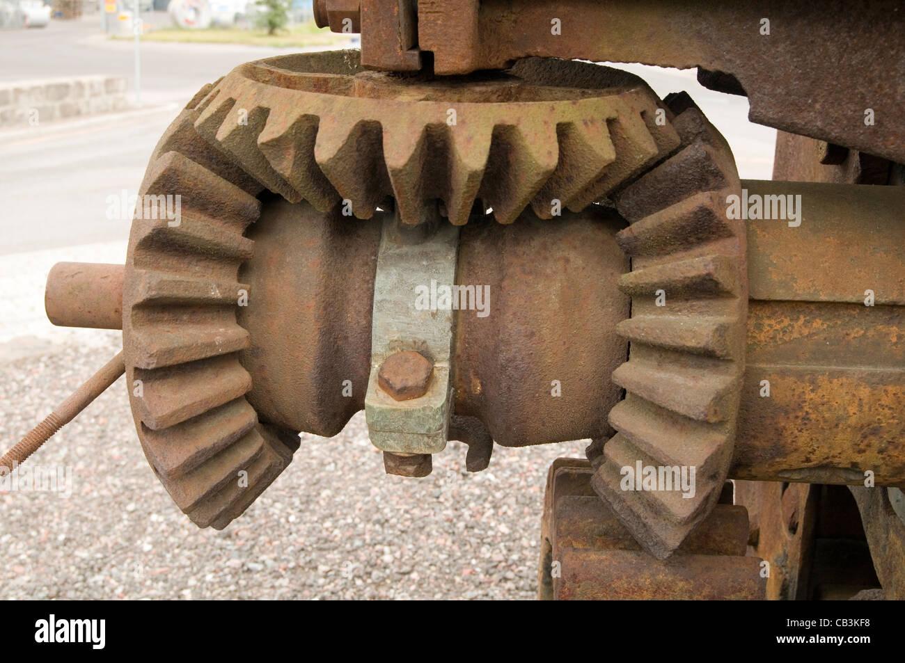 bevel gear gears cog cogs teeth - Stock Image