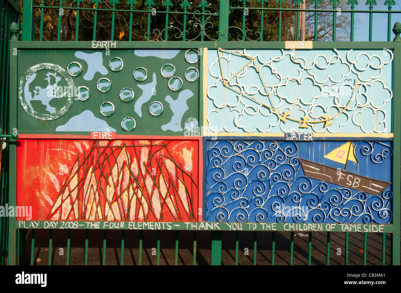 The Four Elements, an artwork made by local schoolchildren. Stamford Park, Ashton under Lyne, Tameside, Manchester, - Stock Image