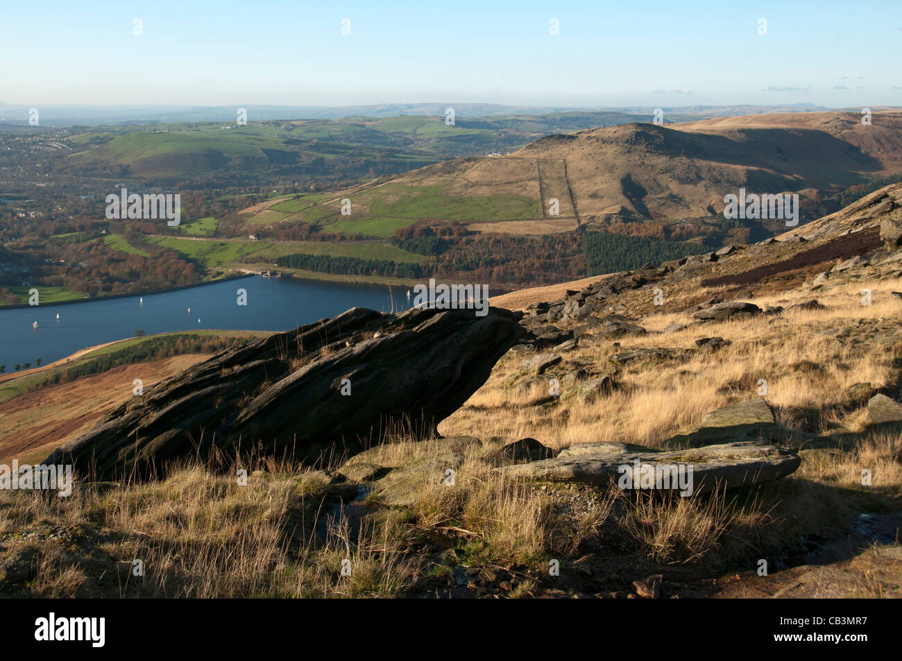 Dovestone reservoir from Dove Stone Moss, Saddleworth, Oldham district, Greater Manchester, England, UK - Stock Image