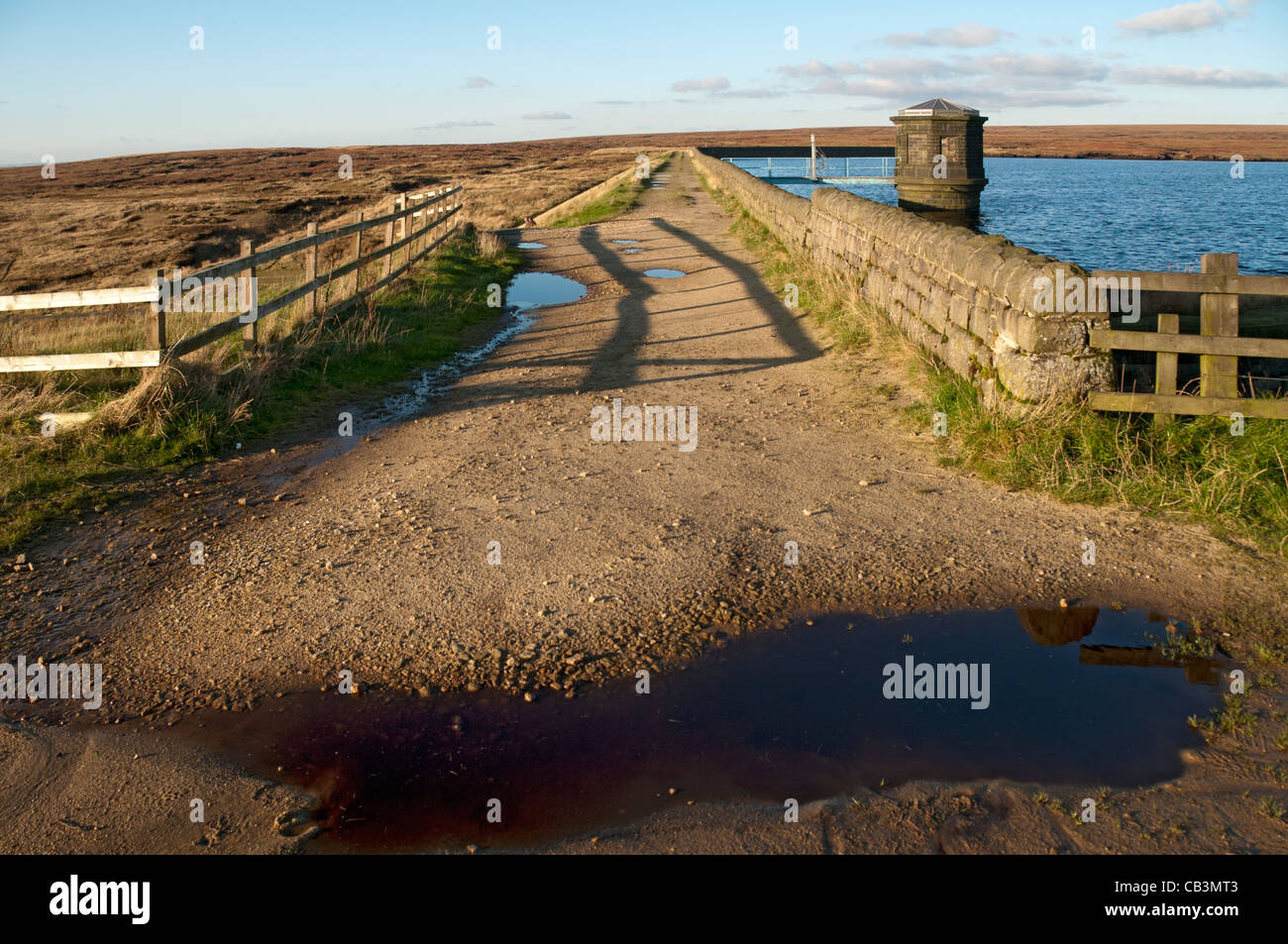 Chew reservoir and dam, Saddleworth, Oldham district, Greater Manchester, England, UK - Stock Image