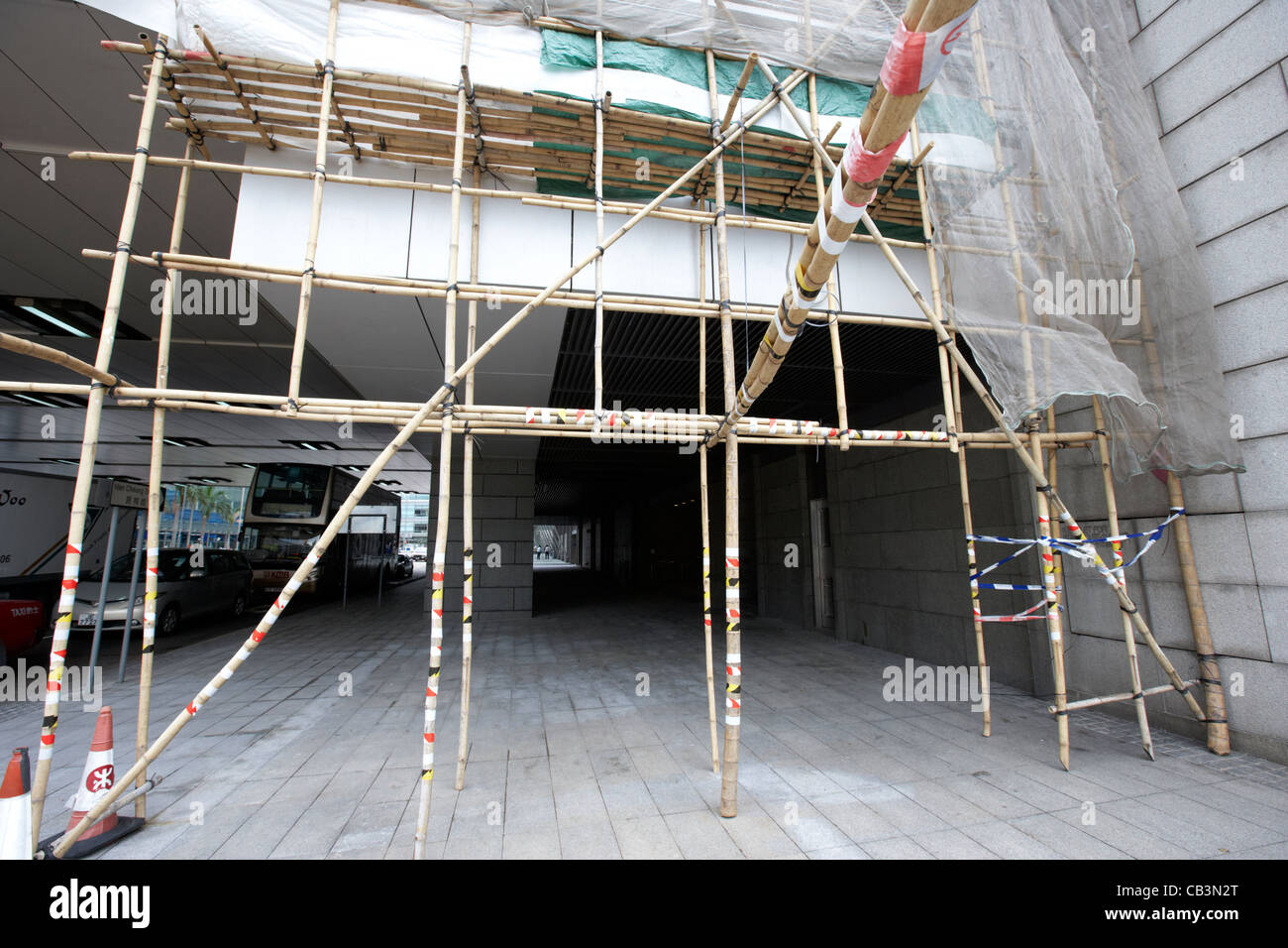 bamboo scaffolding on a building in hong kong island hksar china - Stock Image