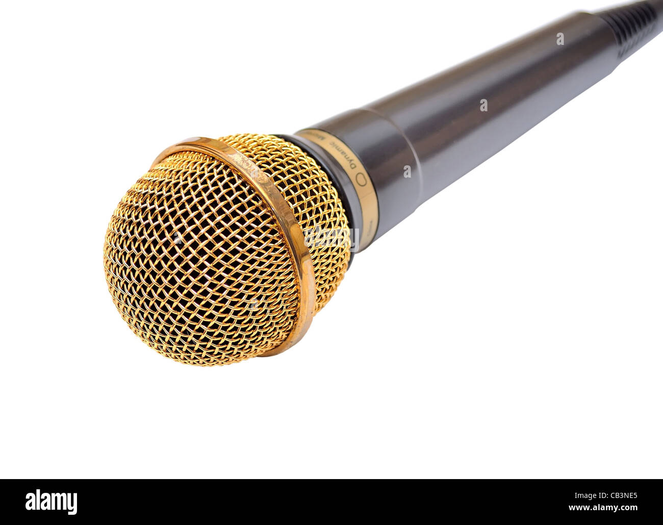Gold microphone isolated on white - Stock Image