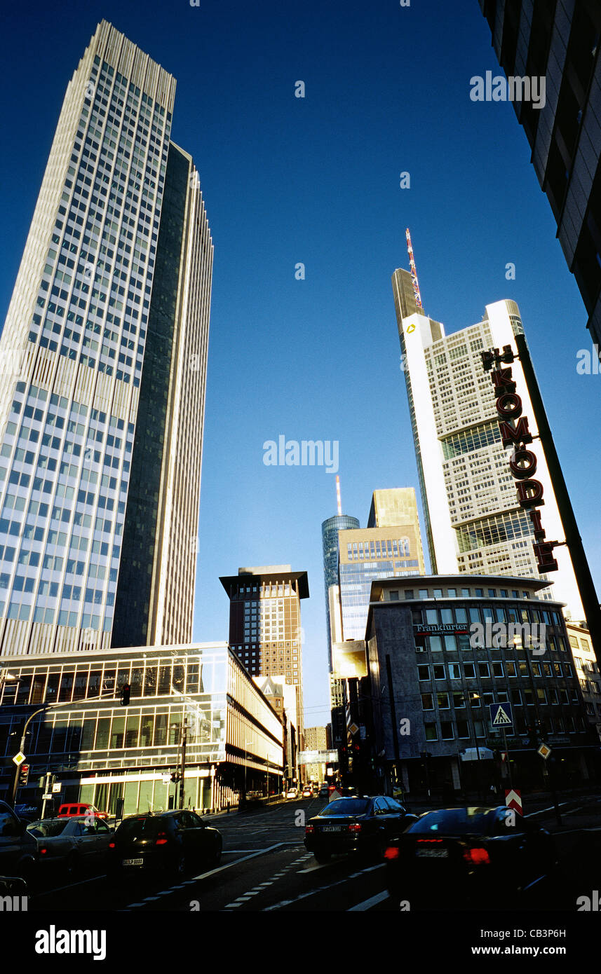 Banking district and commercial centre of Frankfurt am Main. Left to right: ECB, Japan Centre, HeLaBa and Commerzbank Stock Photo