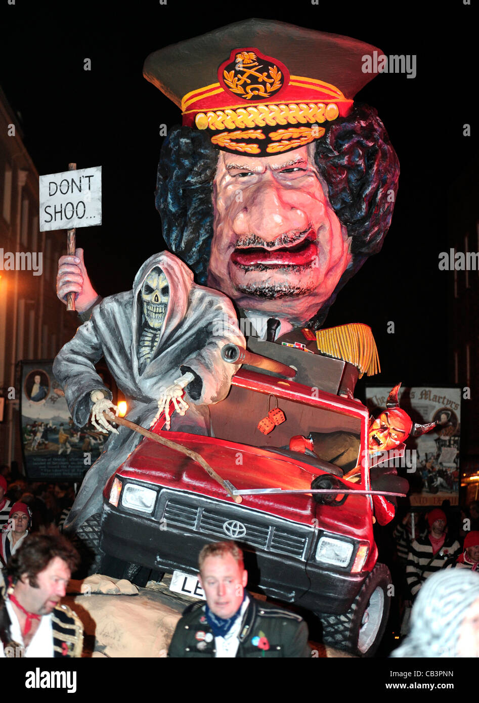 Colonel Gaddafi tableaux, during Lewes bonfire night celebrations - Stock Image