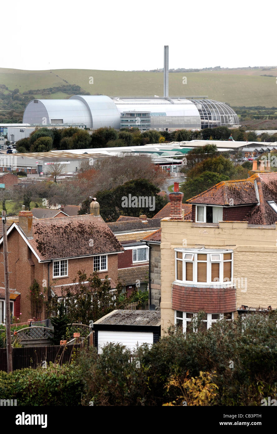 waste incinerator, newhaven, east sussex dominates the town - Stock Image