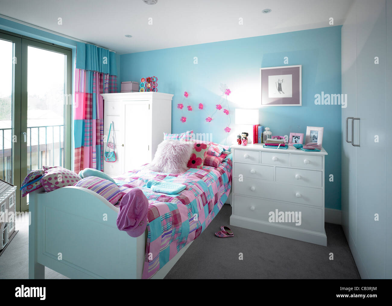 Blue And Pink Girls Bedroom   Stock Image