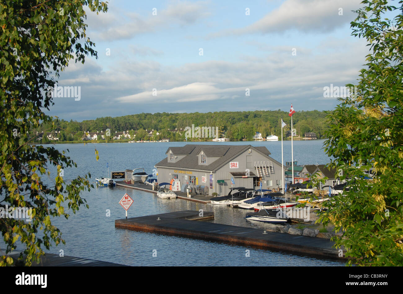 Port Sandfield harbour in the cottage country of Muskoka in Ontario, Canada - Stock Image