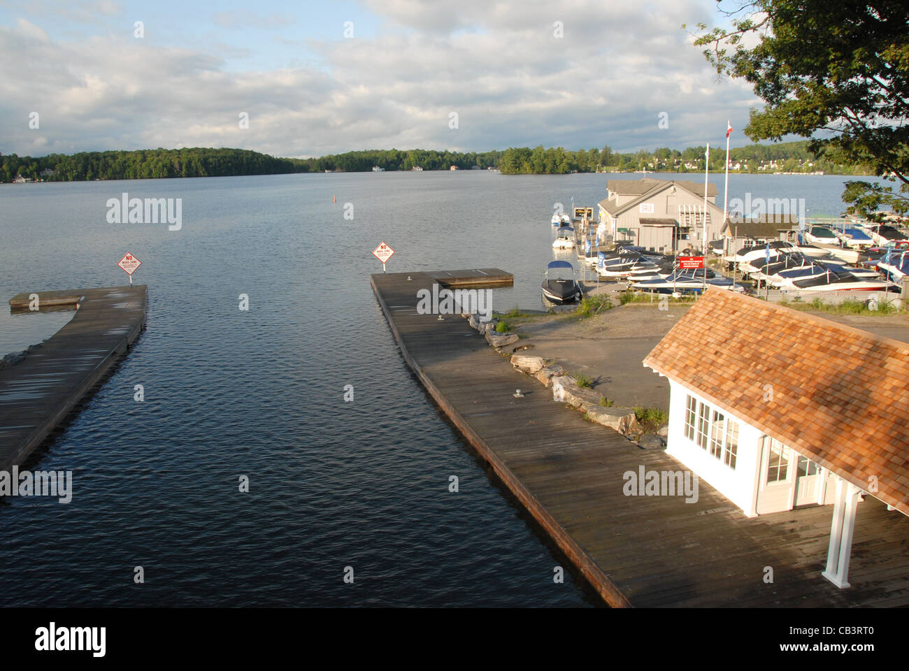 Port Sandfield harbour and marina in the cottage country of Muskoka, Ontario, Canada Stock Photo