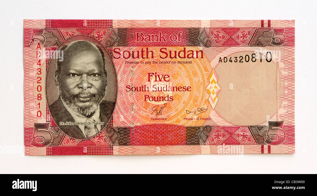 South Sudan 5 Five Pound Bank Note. - Stock Image