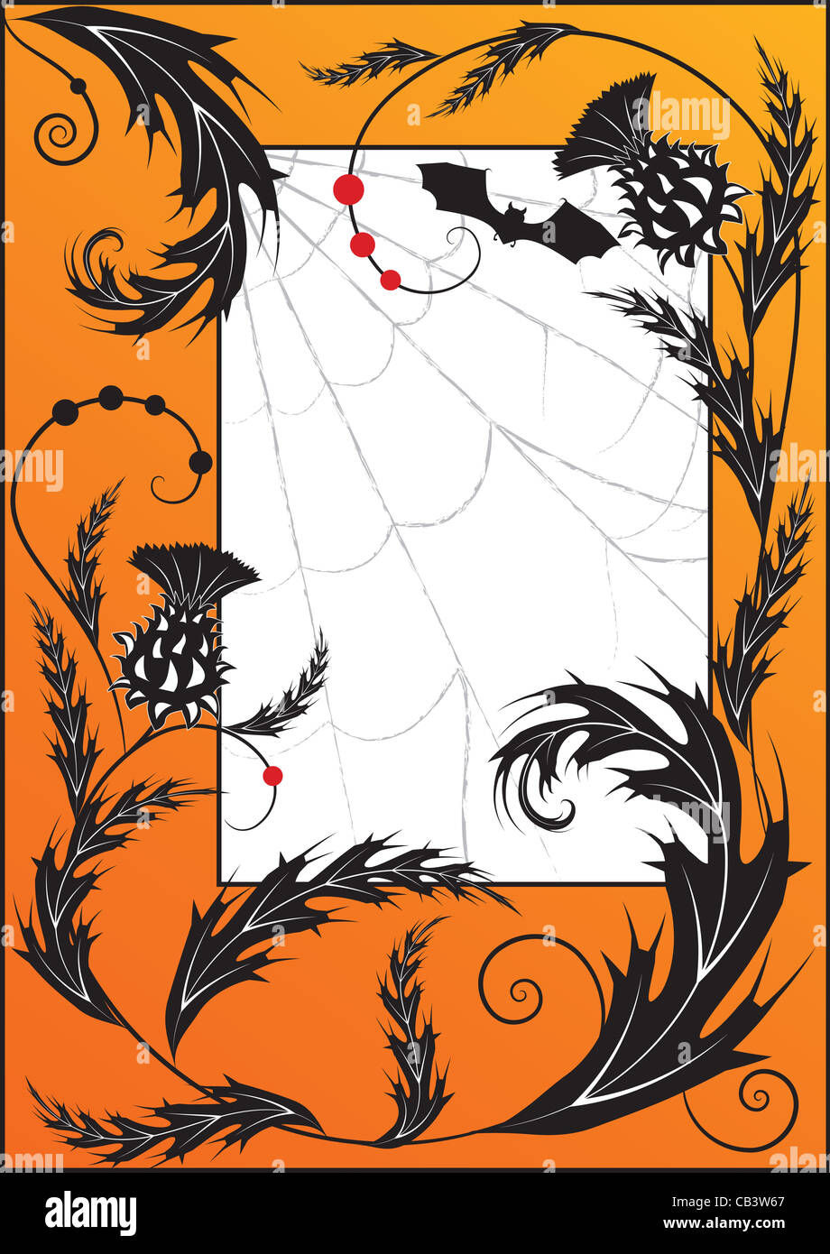Halloween illustration with thistle, spiderweb and bat - Stock Image