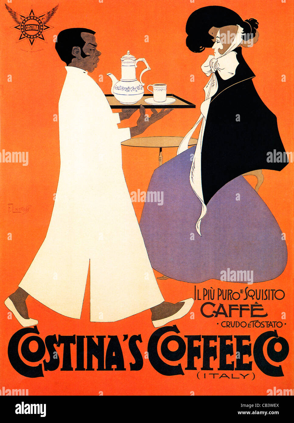 Costinas Coffee, 1901 Art Nouveau poster by Franz Laskoff for the Italian company, the purest and exquisite coffee - Stock Image
