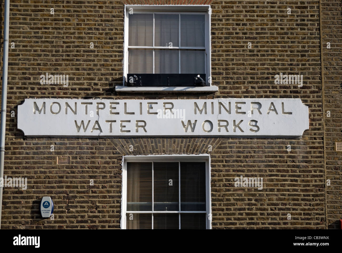 name sign for the former montpelier mineral water works, knightsbridge, london, england - Stock Image