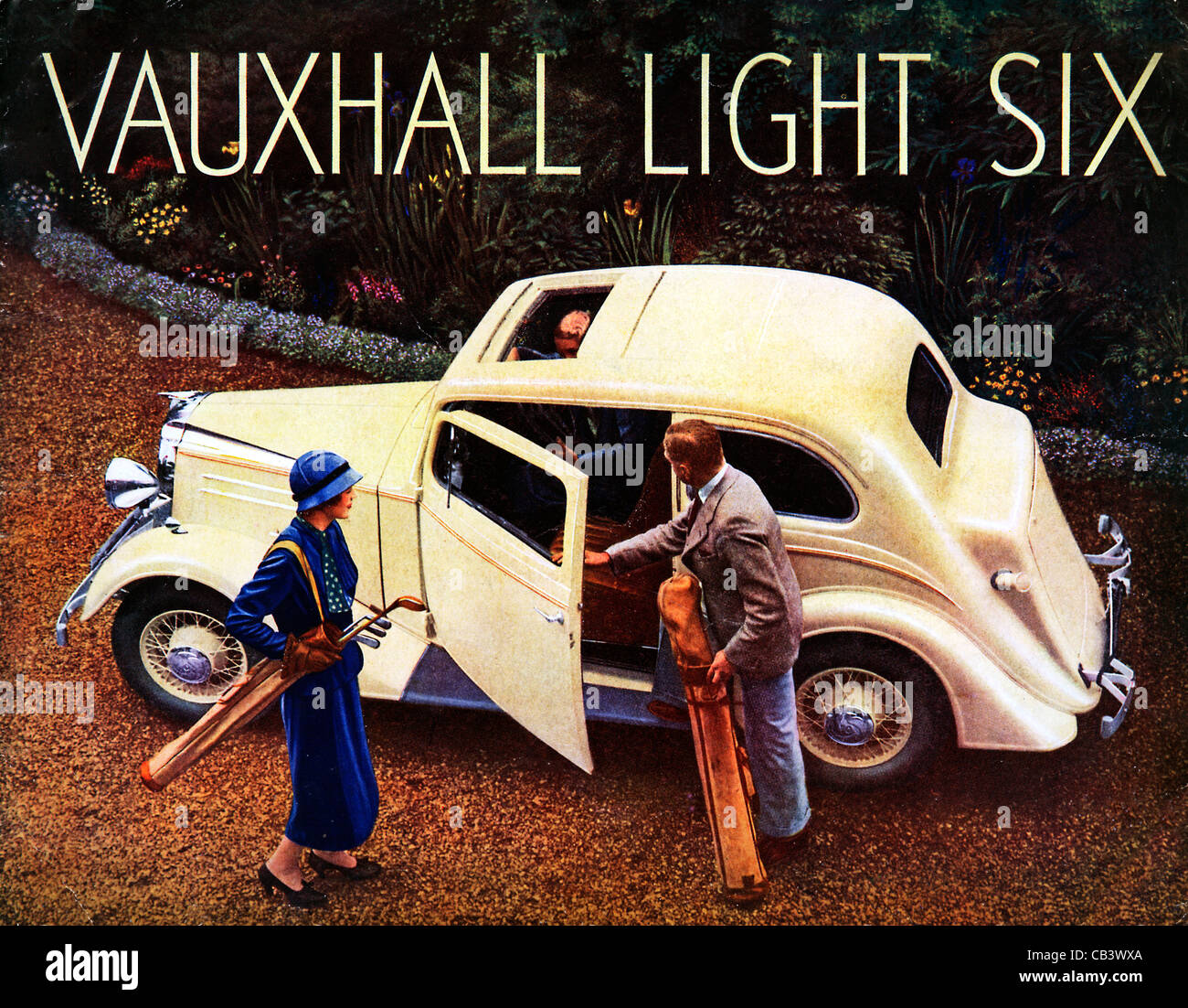 Vauxhall Light Six, 1936 English magazine advert for the English motor car, off to golf at the club - Stock Image