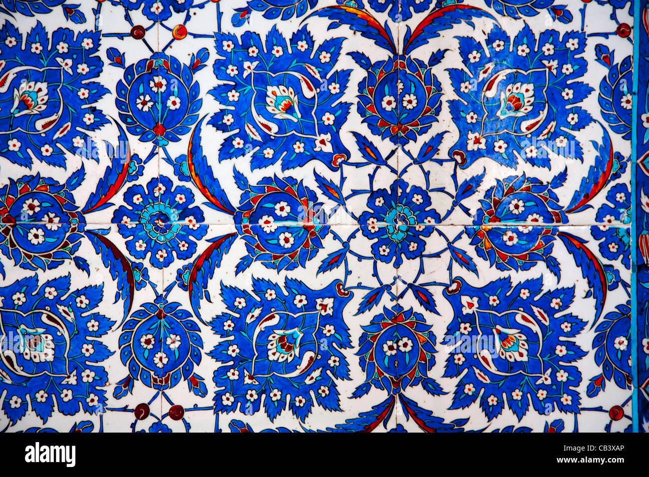 Wall tile in Rüstem Pasha Mosque or Rustempasa Camii. Istanbul, Turkey. - Stock Image