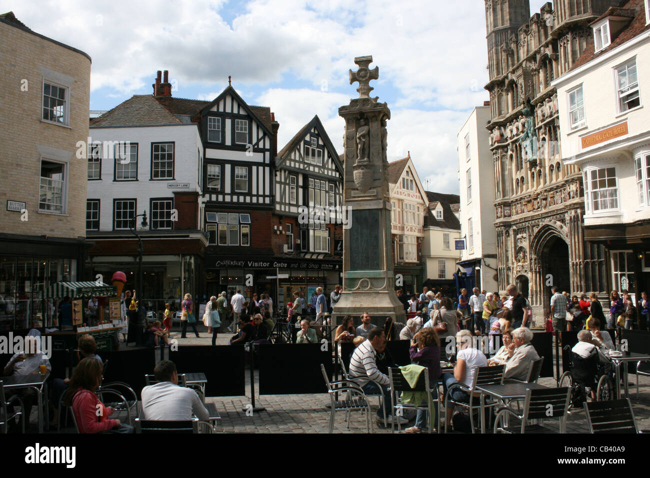 Open Air Coffee Bar in town centre - Stock Image