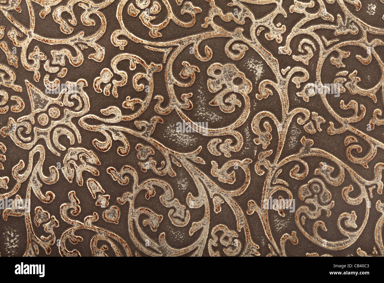 Leather floral pattern background - Stock Image