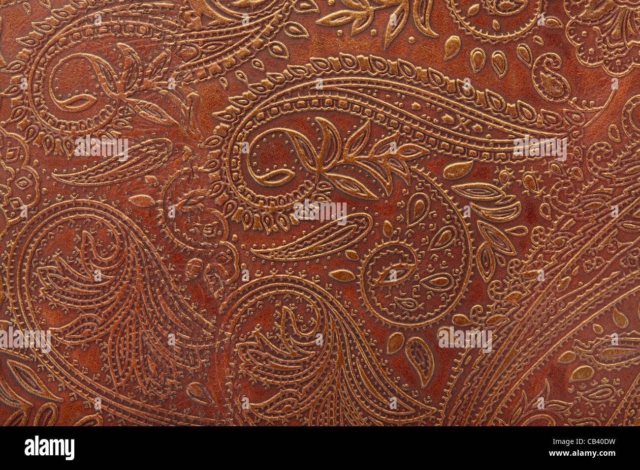 Tooled floral pattern in brown leather - Stock Image