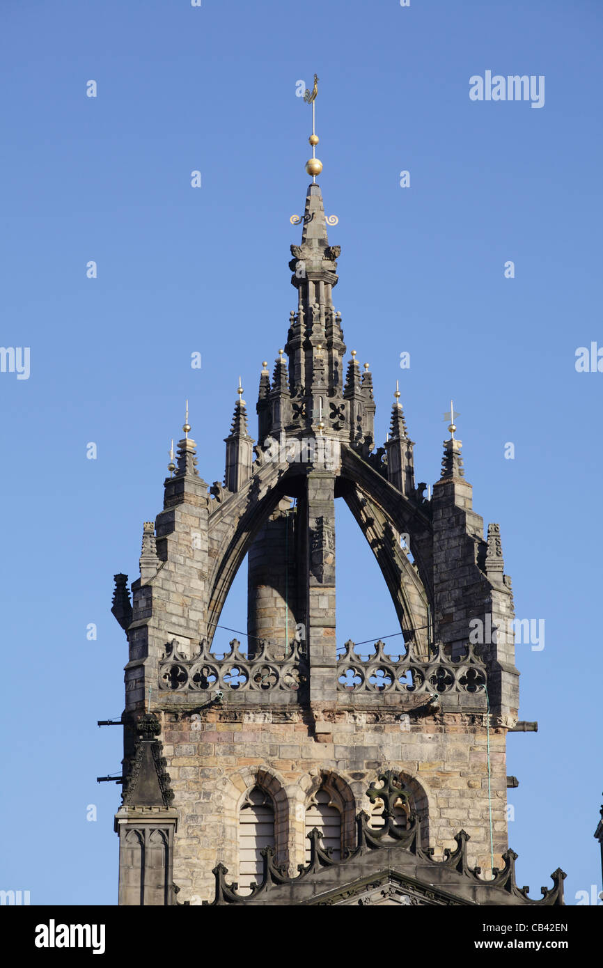 Detail of the Crown Spire of St. Giles Cathedral, also known as the High Kirk of Edinburgh, on the Royal Mile, Scotland, - Stock Image