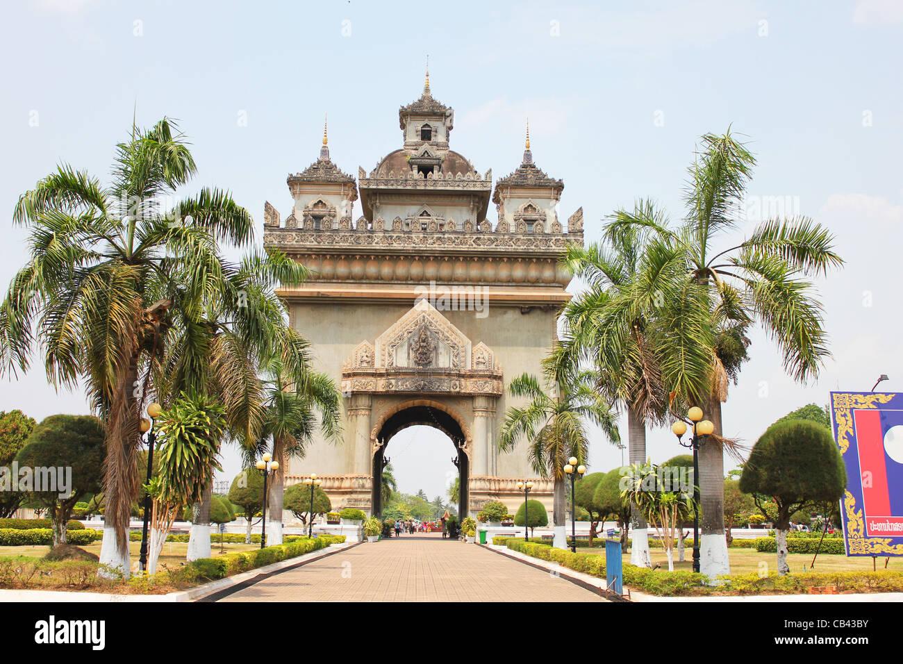 French architecture, Vientiane, Laos. - Stock Image