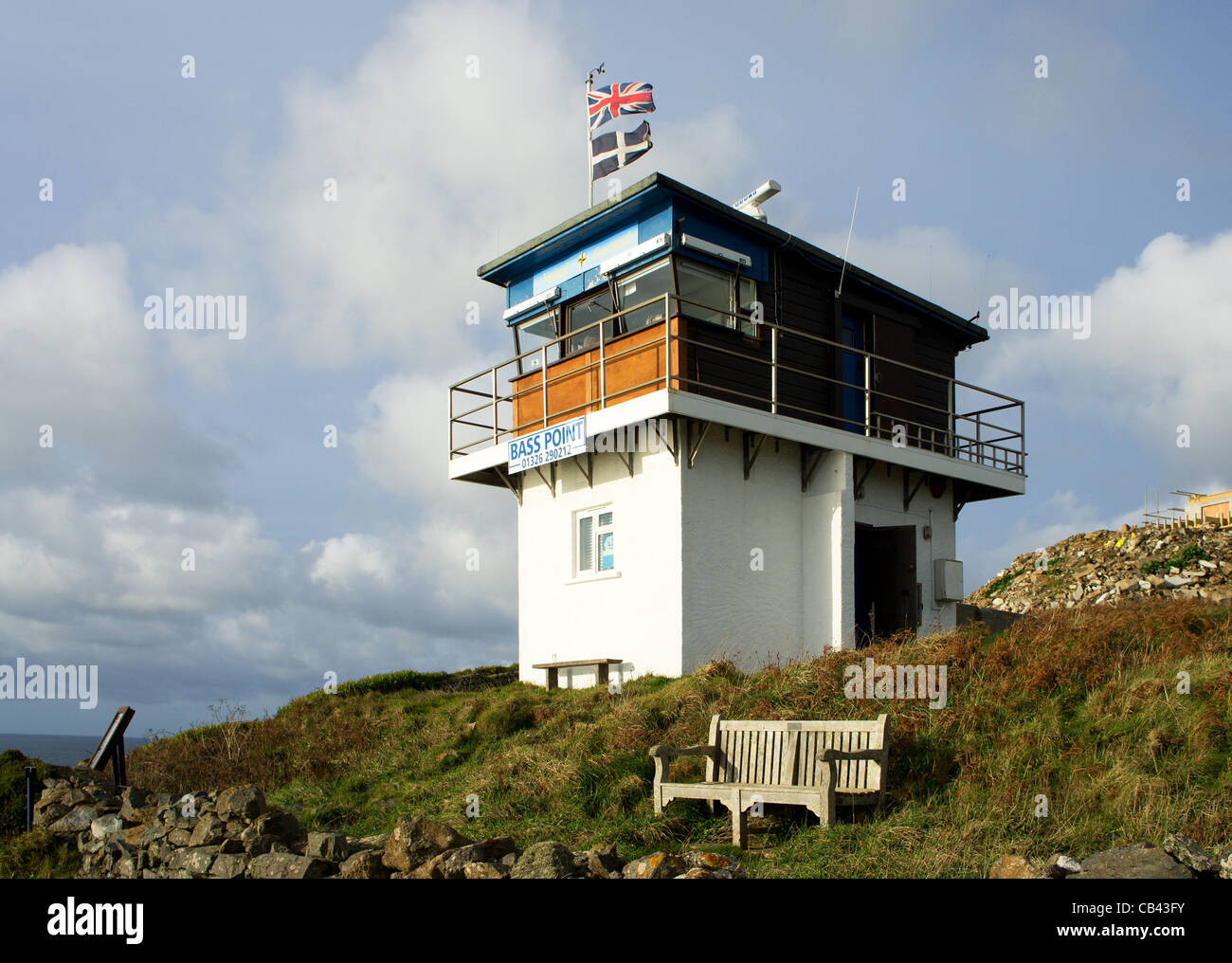 The National Coastwatch Institution lookout station at Bass point on the Lizard peninsular in Cornwall, UK - Stock Image