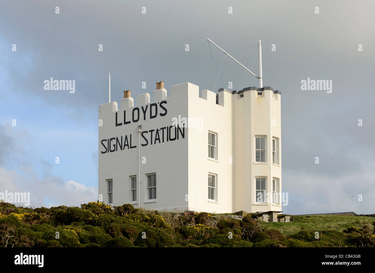 Lloyds signal station over near church cove on the lizard peninsular in cornwall, uk - Stock Image