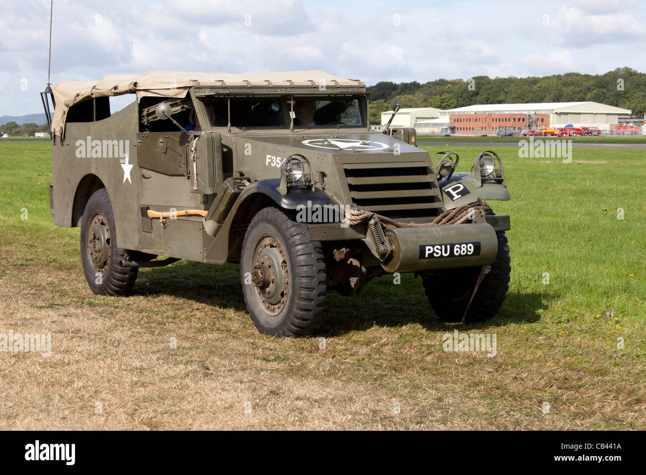White M3A1 Scout car in the Military parade at Dunsfold Wings and Wheels 2011 - Stock Image