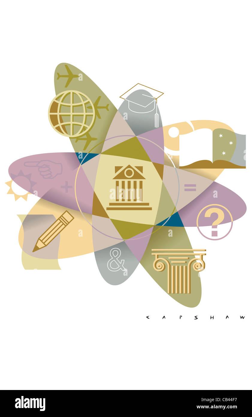 Academia 101, Stan Capshaw, digital illustration - Stock Image