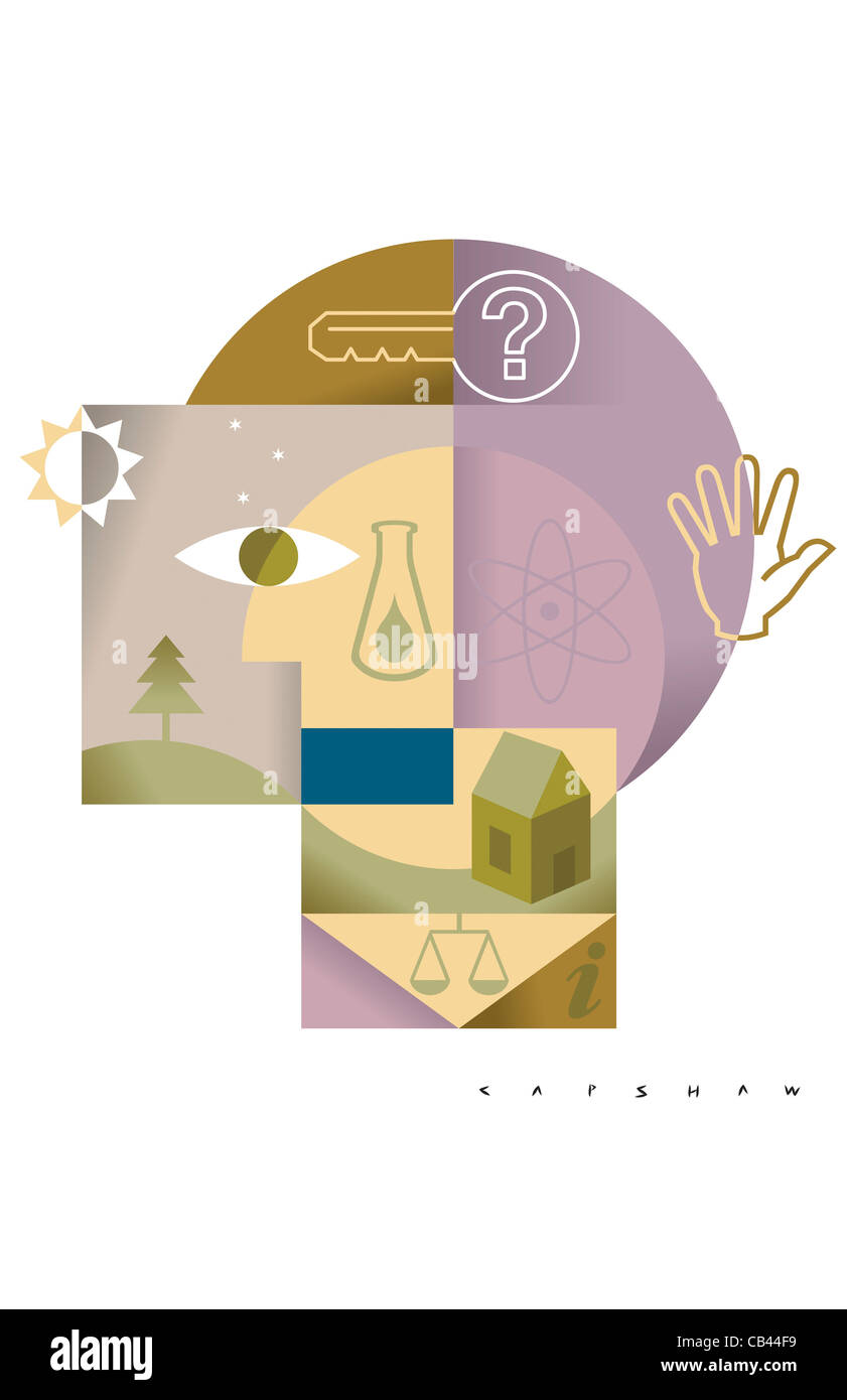 Academia 201, Stan Capshaw, digital illustration - Stock Image