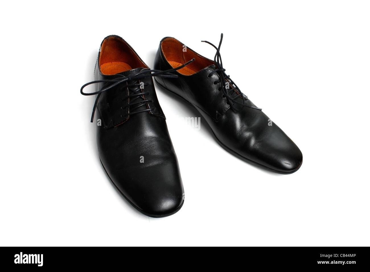 Black shoes isolated on white - Stock Image