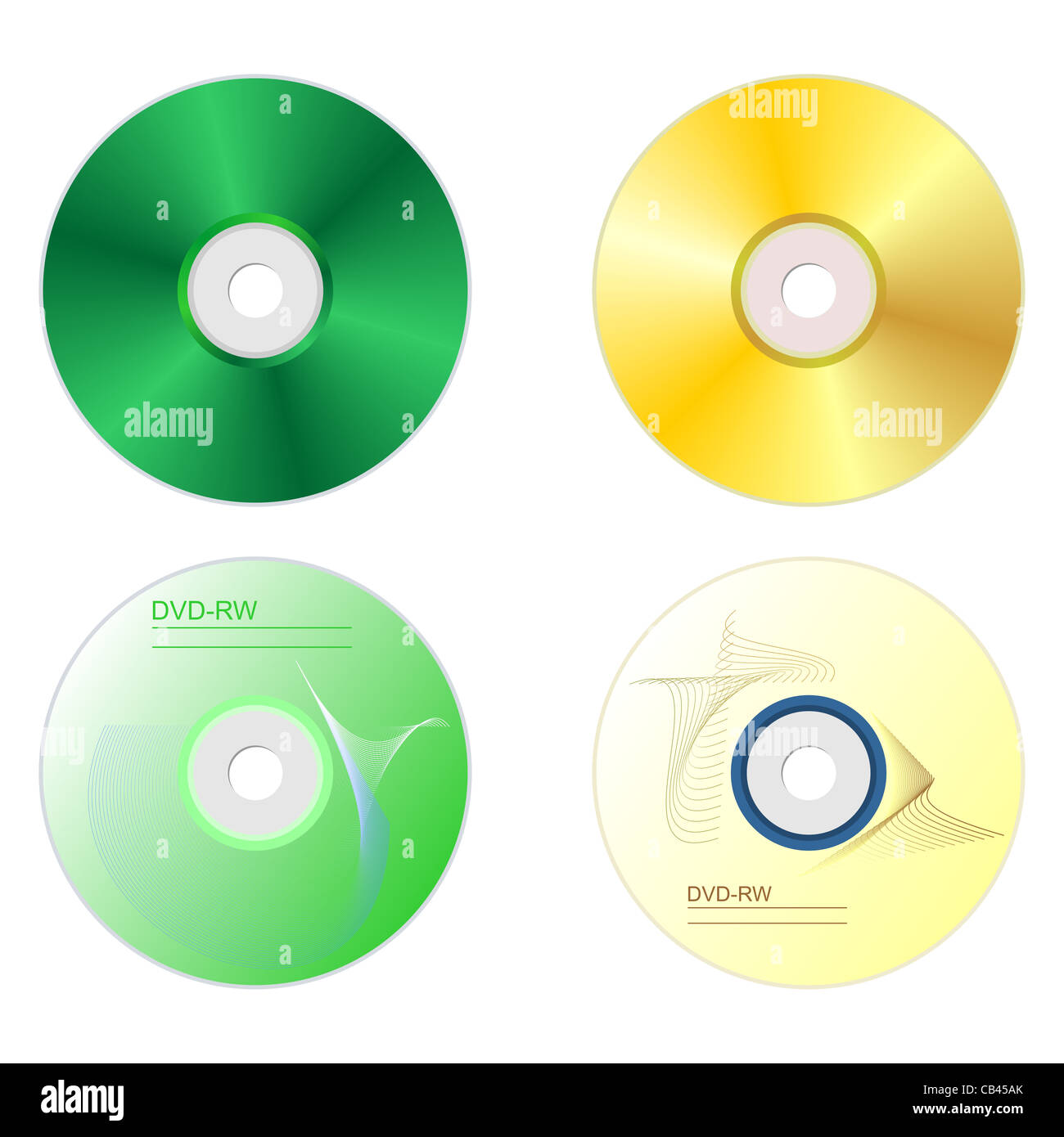 Realistic illustration set DVD disk with both sides - vector - Stock Image