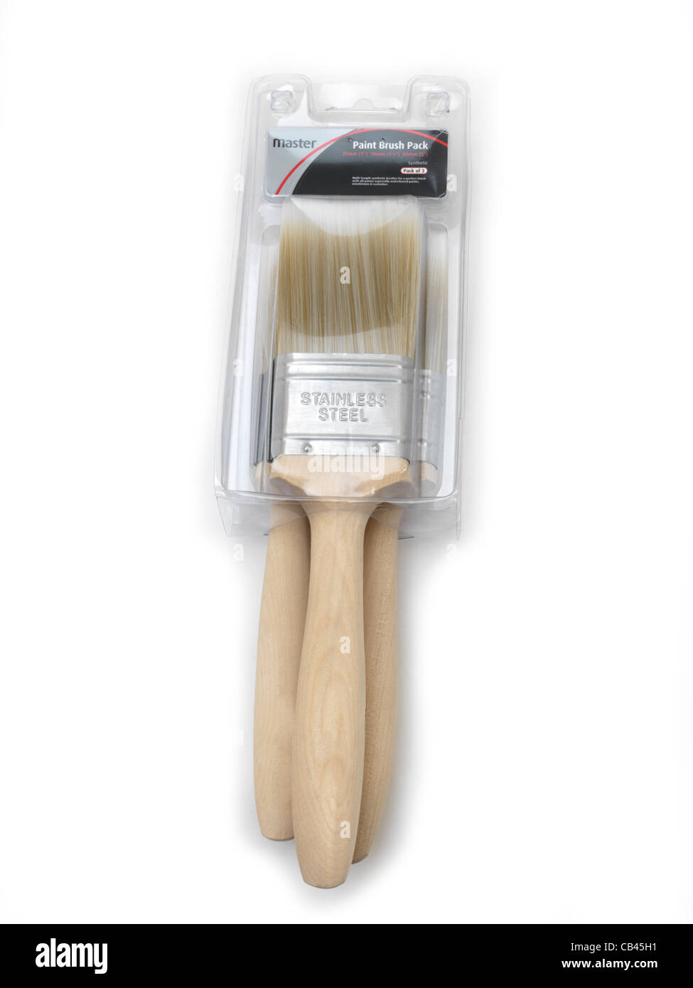 Three Different Sized Flat Brushes In Packaging - Stock Image