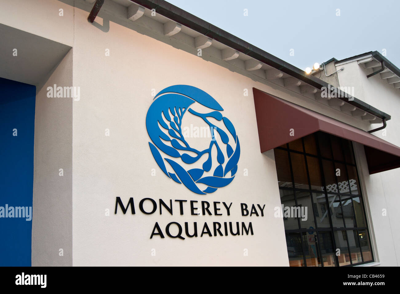The entrance to the famous Monterey Bay Aquarium. - Stock Image
