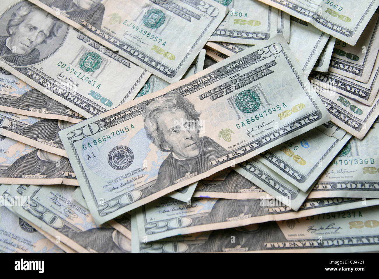 background of old and new twenty dollar US bills - Stock Image