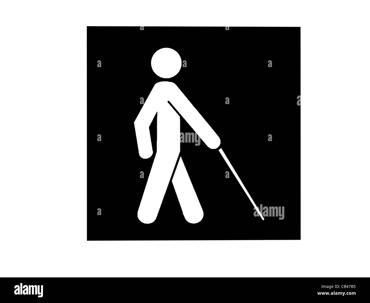Pictorial For The Blind - Stickman With White Walking Stick Stock Photo