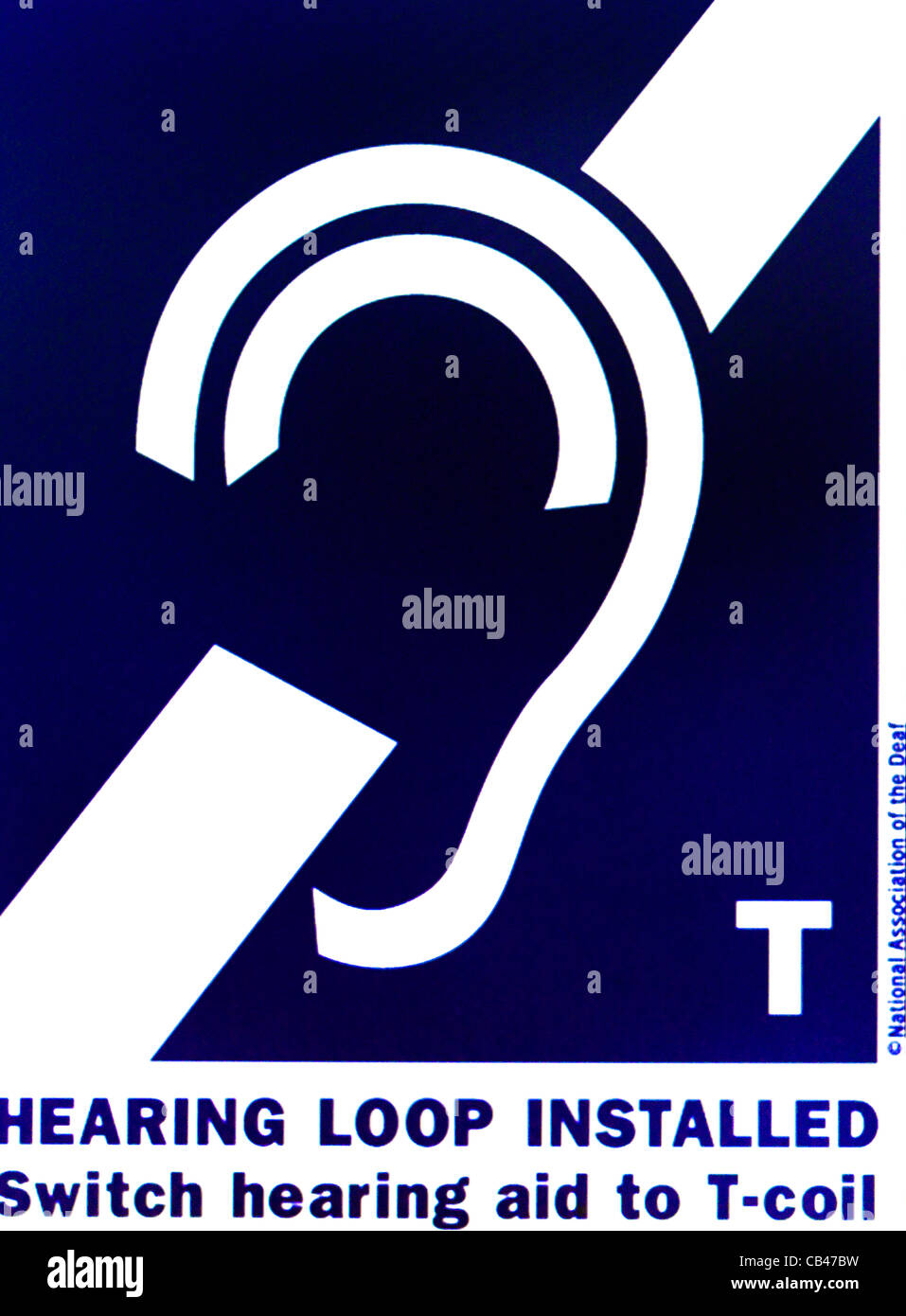 Symbol For Deaf Shown When Hearing Loop Is Installed Stock Photo