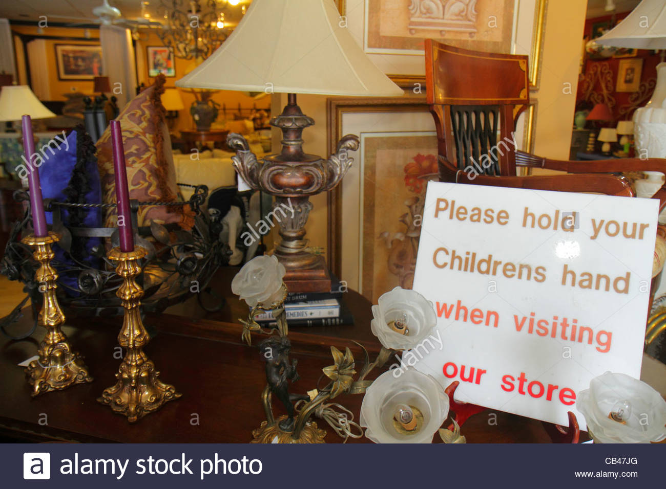 Boca Raton Florida Mizner Boulevard Past Perfect Consignment Shop Store  Shopping Antiques For Sale Sign Hold Childrenu0027s Hand
