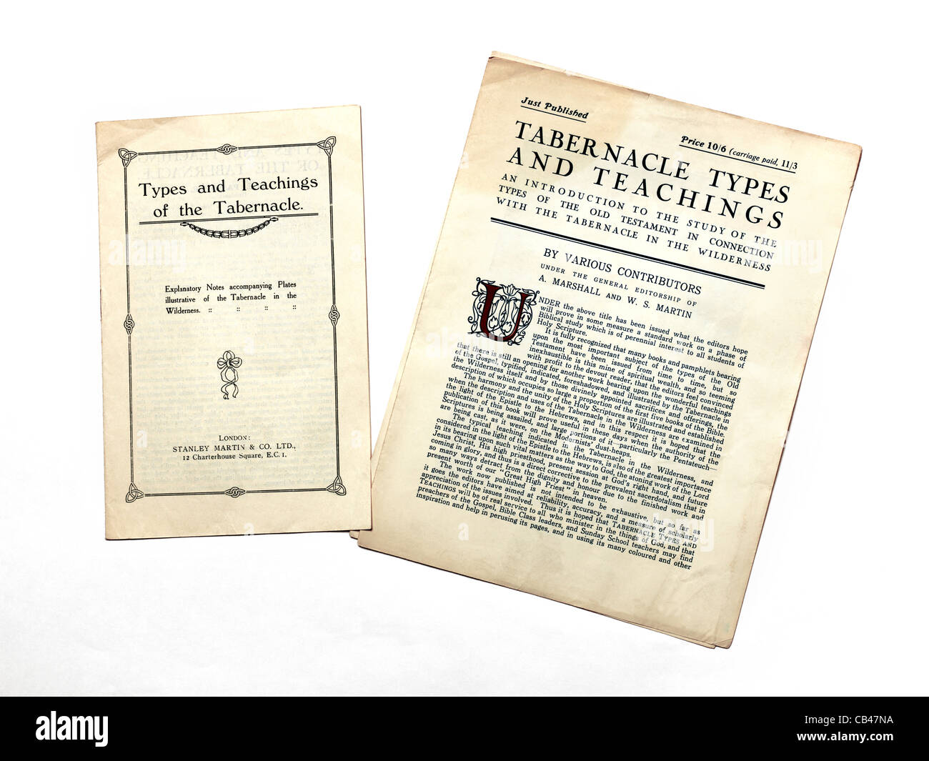 Old Leaflets On The Types And Teachings Of The Tabernacle - Stock Image