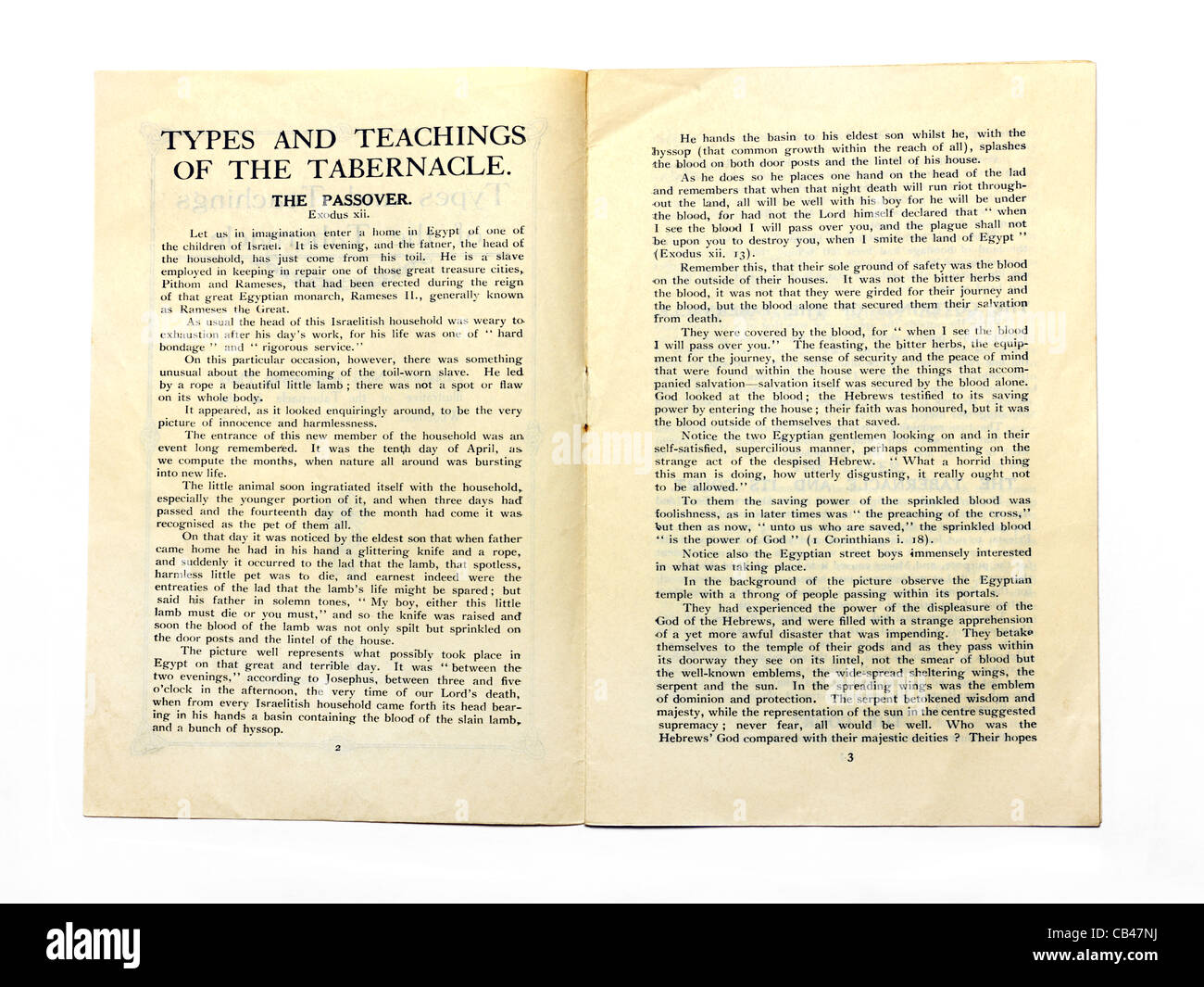 Old Booklet On The Types And Teachings Of The Tabernacle A Portable Sanctuary Constructed For Worship For The Jews - Stock Image