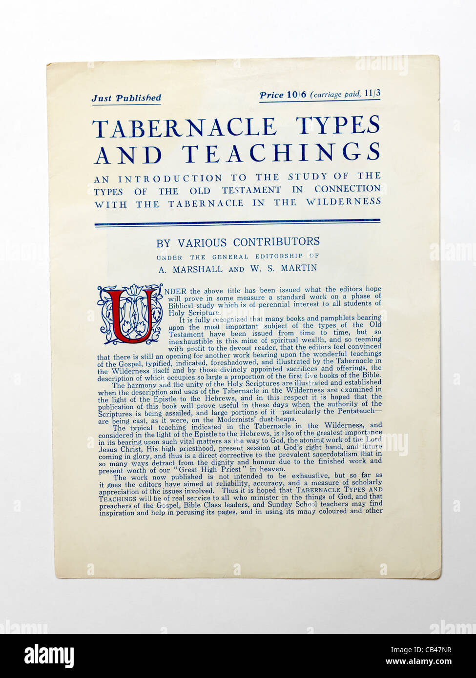 A Page On The Types And Teachings Of The Tabernacle A Portable Sanctuary Constructed For Worship For The Jews - Stock Image