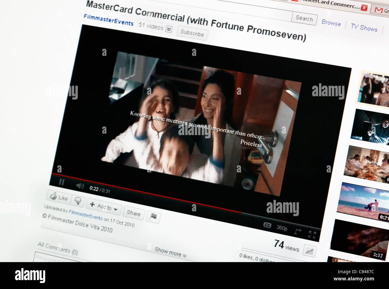 Mastercard Priceless Commercial On Youtube On Computer - Stock Image