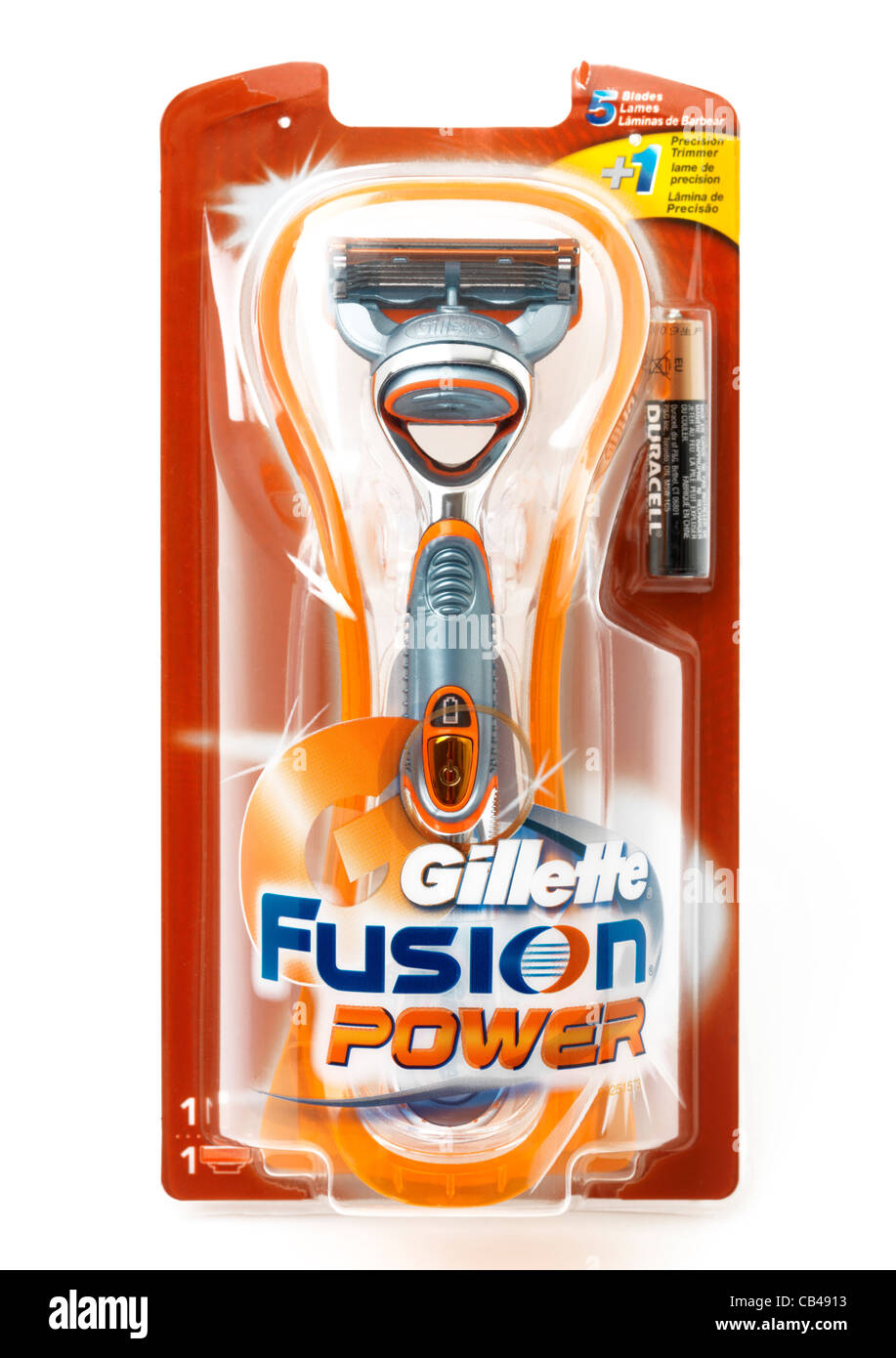 Gillette Fusion Power Razor And Battery In Packaging - Stock Image