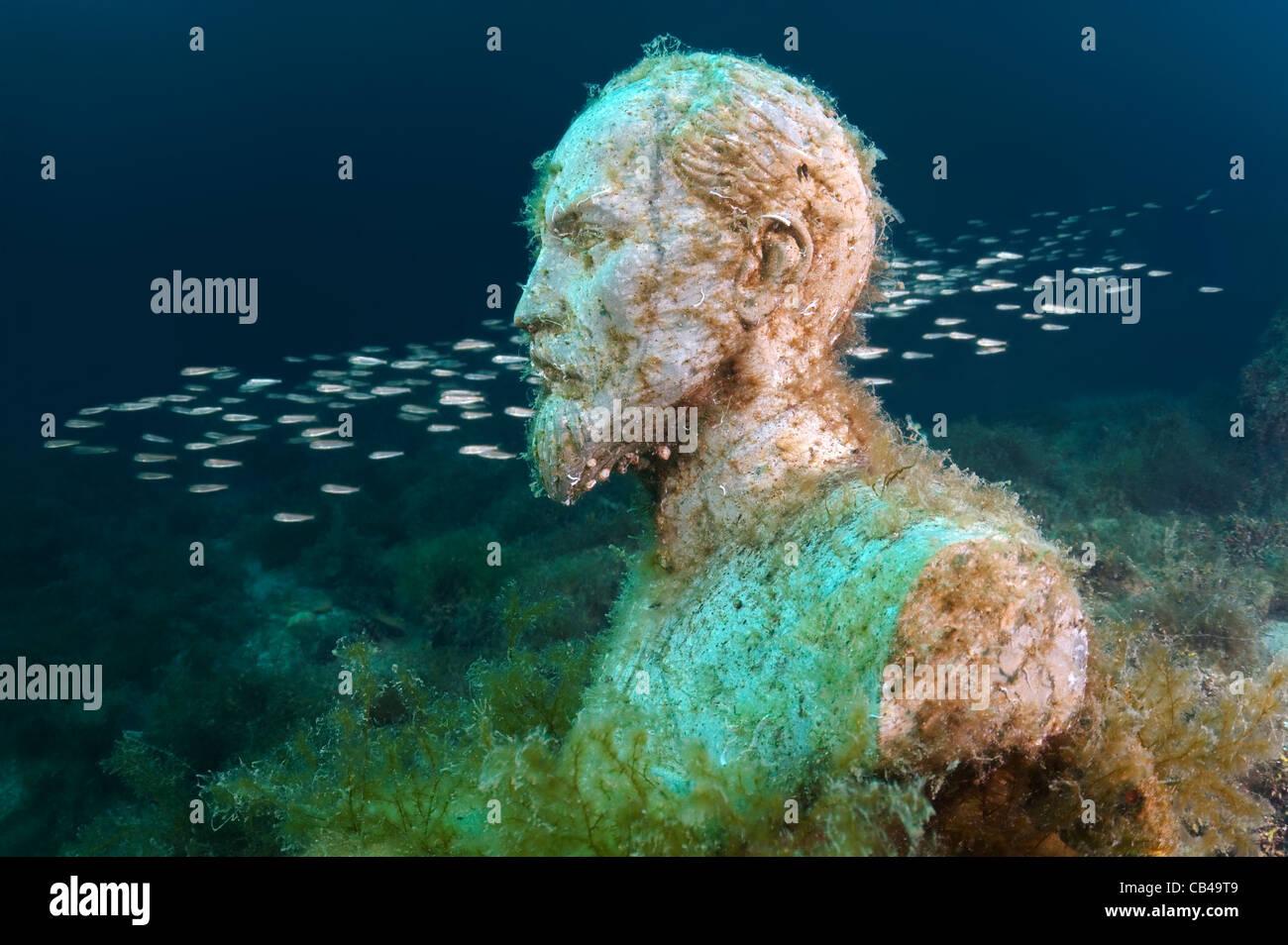 sculpture Felix Edmundovich Dzerzhinsky to first in the world underwater museum Leaders' Alley or Soviet Atlantis - Stock Image