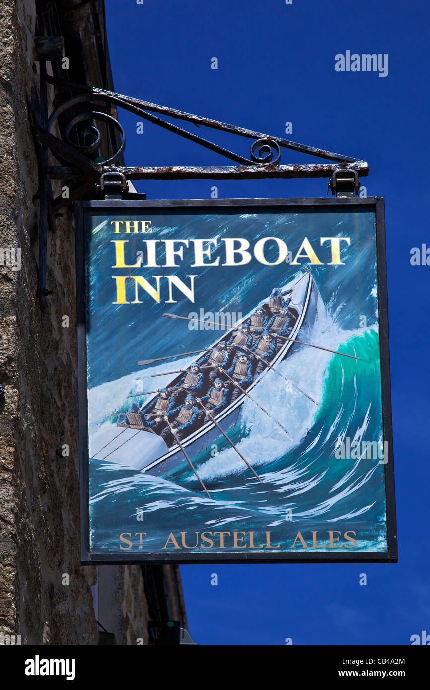 Sign for the Lifeboat Inn, old harbour, St Ives, Cornwall,South West  England, UK, United Kingdom, GB, Great Britain, - Stock Image