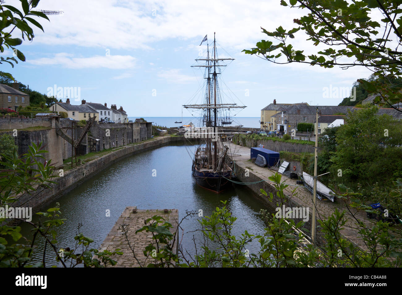 Tall ship in Charlestown harbour, St Austell, South Cornwall, South West  England, UK, United Kingdom, GB, Great - Stock Image