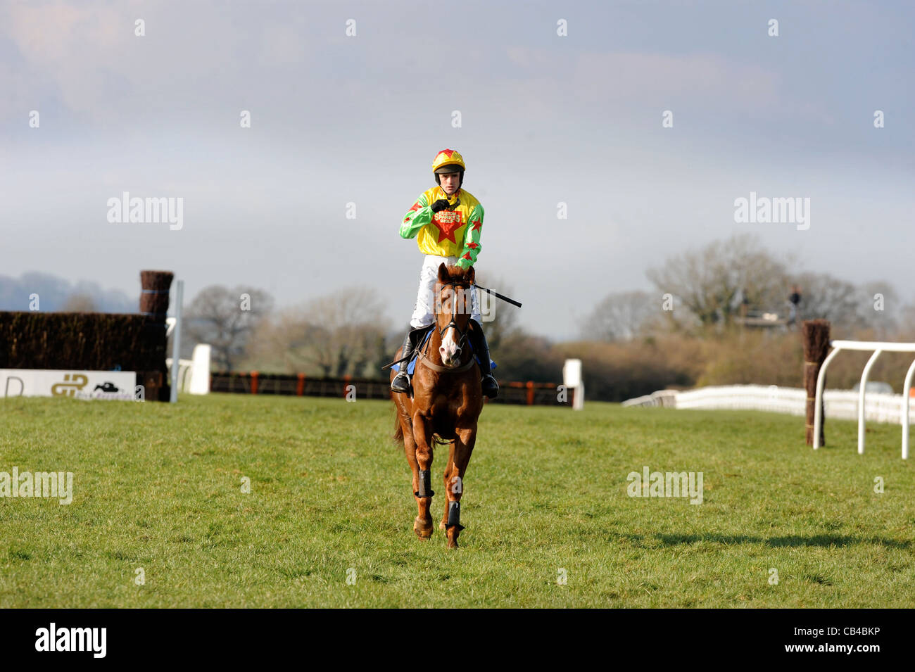 The jump jockey Ruby Walsh returning after pulling up on Hivikos at Wincanton races March 2009 Stock Photo